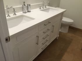 white bathroom countertop